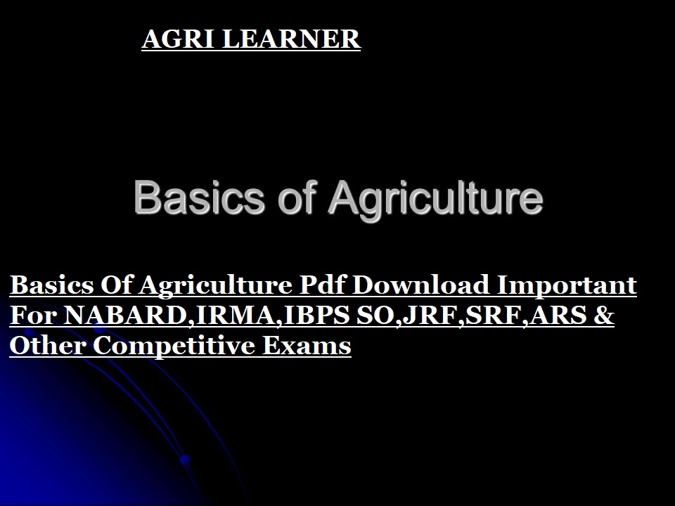 Basics Of Agriculture Pdf Download