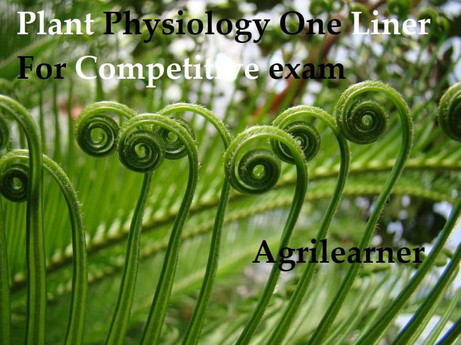 Plant Physiology One Liner